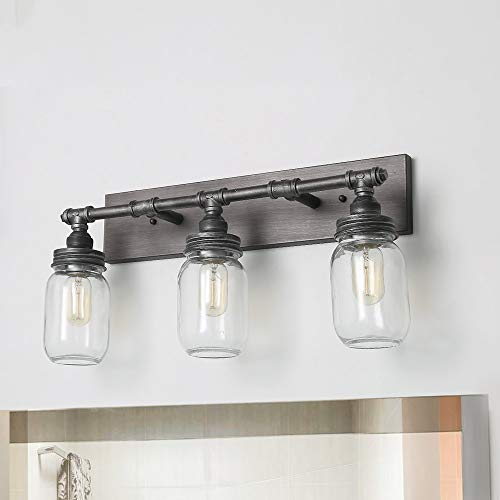 LNC Large Vanity Lights, Industrial 3-Light 24.4 Mason Jar Wall Sconce, Silver Plating with Black Finish Bathroom Vanity Light
