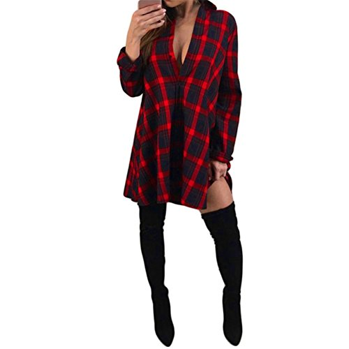 Hip Stitched Pleated Skirt (Women Ladies Plaid Button Long Sleeve T-Shirt Turn-Down Collar Pullover Blouse Tops (XL))