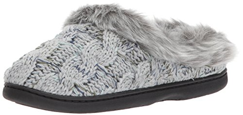 Dearfoams Women's Cable Knit Clog with Space-Dye,Light heather grey,Large