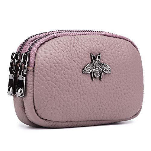 imeetu 2 Zippered Coin Pouch Purse Change Holder Wallet Change Purse Credit Card Key Holder(Dark Pink)