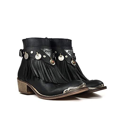 Color Ante Campera Monedas De Bota Con Boots La Flecos Layer Cubrebotas Baja India Negro Y ExUBqYwX