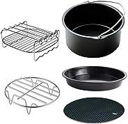 HEMOTON Conjunto de 5 peças de acessórios para fritadeira a ar com barril de bolo para pizza, suporte de metal
