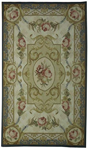 (Handmade Rug 3' x 5' Fine Weave New French Décor Beige Aubusson)