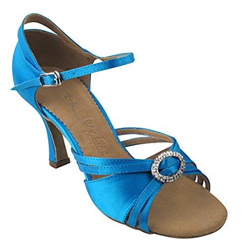 Scarpe Molto Belle Da Donna Serie Salsera Sera1154 3 Tacco Blu Satinato