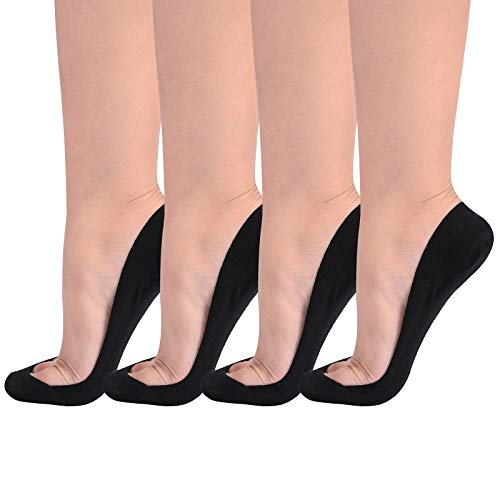 Flammi Women's 4 Pairs TRULY No Show Socks for Flats Non Slip Ultra Low Cut (Shoe Size 9-10.5 US, Black) (Best Shoes For Heel Pain)