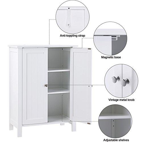 SONGMICS Bathroom Floor Storage Cabinet with Double Door Adjustable Shelf White UBCB60W by SONGMICS (Image #3)