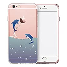 iPhone 6S Case, SwiftBox Cute Cartoon Clear Case for iPhone 6 6S (Flying Dolphin)