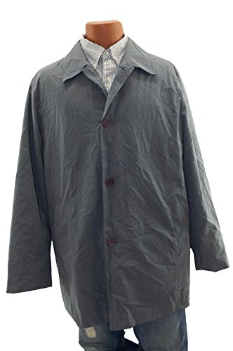 (Claiborne Mens Dress Jacket Button up Down Coat Windbreaker Gray M)