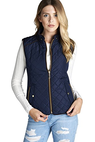 Active USA Quilted Padding Vest With Suede Piping Details Sizes from S to 3XL (Dark Navy-Large) (Quilted Women Vest)