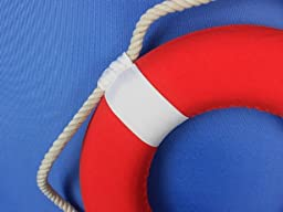 Hampton Nautical  Vibrant Red Lifering with White Bands, 20\