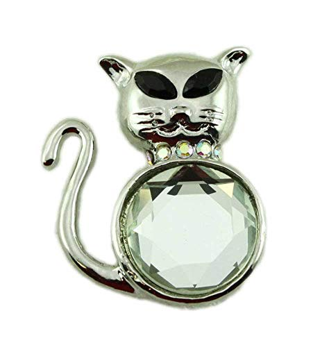 Lilylin Designs Cat with Large Round Mirror Belly and Jet Black Eyes Brooch Pin