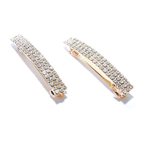 Luxxii - Clear Rhinestone Crystal Hair Barrette Clip Hair Pin (Pack 2, Gold Color)