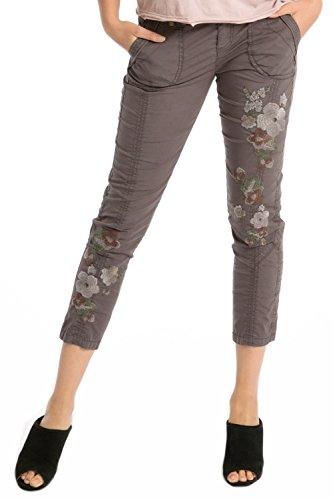 Marrakech Buttons - Marrakech Women's Harietta Poplin Flower Embroidery Pant Smoke Sz 24 403E