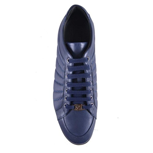 Versace-Collection-Mens-Blue-Leather-Fashion-Sneakers-Shoes