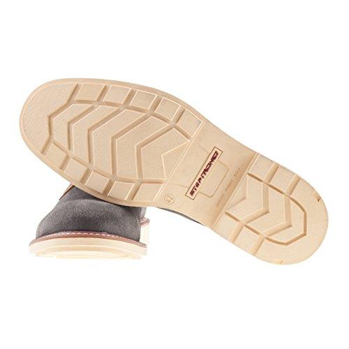 Steptronic Lewis Gris daim à lacets Chaussure décontractées avec contraste semelle large pour un confort de luxe