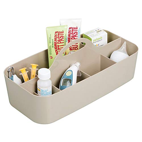 (mDesign Plastic Nursery Storage Caddy Tote, Divided Bin with Handle for Child/Kids - Holds Bottles, Spoons, Bibs, Pacifiers, Diapers, Wipes, Baby Lotion - BPA Free, Large -)