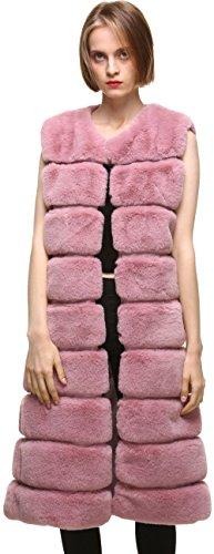vogueearth Women' Classic Faux Fur Rex Rabbit Autumn Winter Warm Long Vests Pink - Long Fur Vest