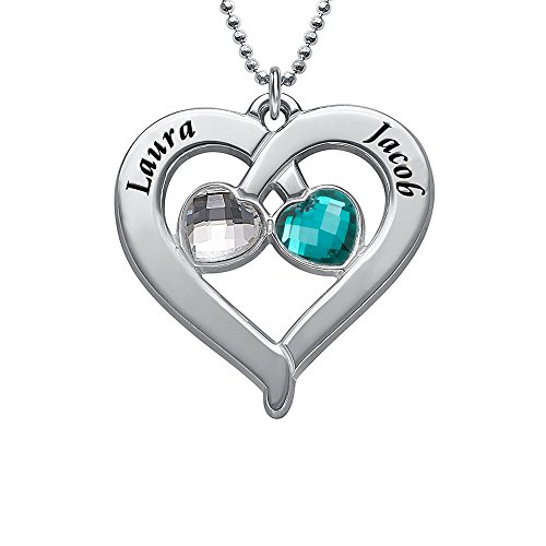(925 Silver Heart Engraved Necklace with Zirconia Heart Shape Birthstones - Gift For Her)