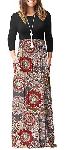 GRECERELLE Women's Long Sleeve Loose Plain Floral Print Maxi Dresses Casual Long Dresses Pockets Sun-Brown-L ()