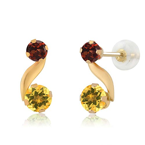 - 0.76 Ct Round Yellow Citrine Red Garnet 14K Yellow Gold Earrings