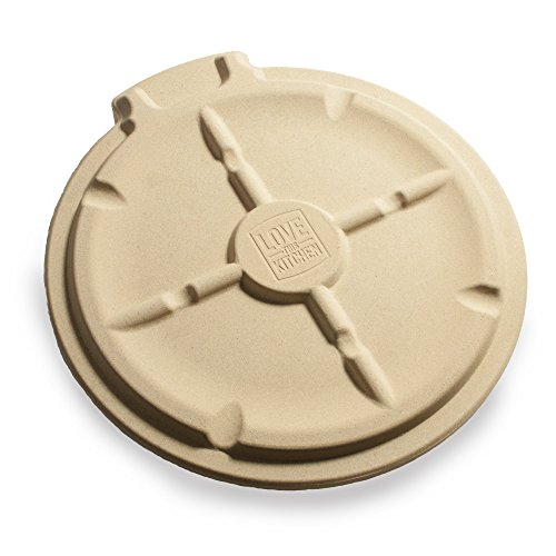 The Ultimate 16'' Round Pizza & Bread Stone for Cooking & Baking on Oven & Grill. Exclusive ThermaShock Protection & Core Convection Technology for the Perfect Crispy Crust. Patented No-Spill Stopper by Love This Kitchen (Image #1)