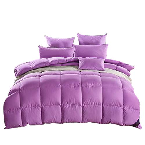 ROSE FEATHER Luxurious White Goose Down Comforter Duvet,800TC Down Proof Cover,850+ Fill Power,Soft Warm Brethable for Winter,No Noise, Medium Warmth (Cal King Size, Purple)