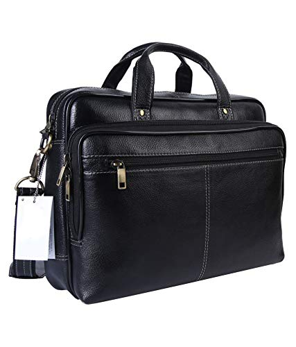 LeatherNLux 14'' Classic Genuine Leather Handmade Laptop Briefcase Messenger Bag (Black)