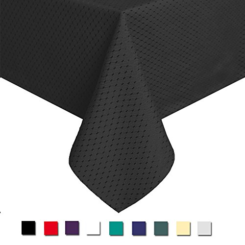 Eforcurtain Waffle Checks Pattern Design Tablecloth Waterproof Fabric, 60 Inch By 84 Inch, Black (Price Christmas 1 2 Decorations)