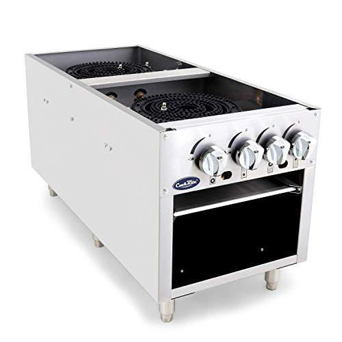 CookRite ATSP-18-2 Two Burner Stock Pot Stove Natural Gas Stainless Steel Countertop - 160,000 BTU ()