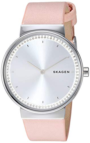 Skagen Women Annelie Quartz Stainless Steel and Leather Watch Color: Silver, Blush (Model: SKW2753) ()