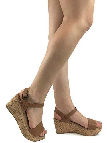 City Classified Womens Buckle Ankle Velcro Strappy Cork Platform Wedge Sandal, Tan, 7.5 ()