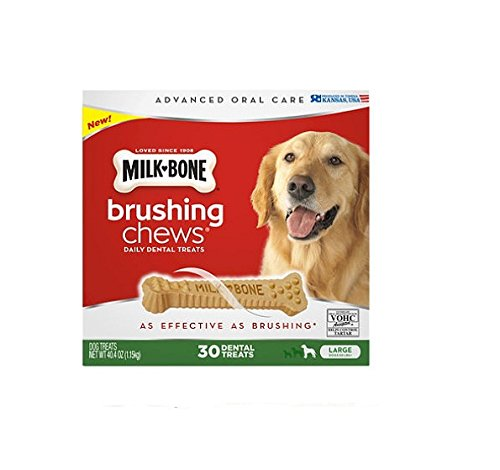 Milk-Bone Brushing Chews Daily Dental Treats, Large (30 ct.) ,40.4 oz (1.15kg)