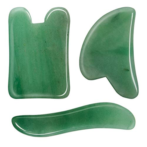 3 Pack Jade Gua Sha Scraping Massage Tool, Natural Jade Gua Sha Board for Face and Body, Facial Lifting Tool for Lift the Skin, Relax Muscles, Relieve Stress, Improve the Blood Circulation and Metabol