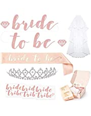 Rose Gold Pink Bachelorette Party Decorations Kit - Bridal Shower Supplies | Bride to Be Sash, Rhinestone Tiara, Pre-Strung Banner, Veil + Bride Tribe Flash Tattoos