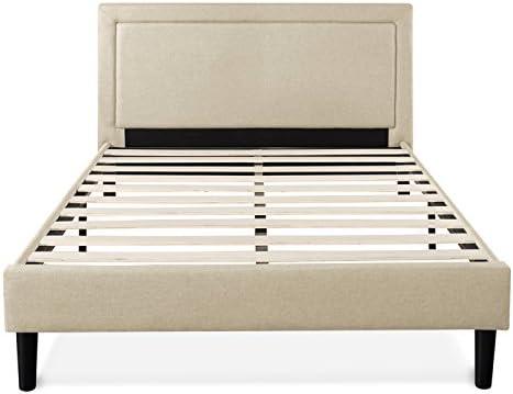 Zinus Mckenzie Upholstered Detailed Platform Bed / Mattress Foundation / Easy Assembly / Strong Wood Slat Support