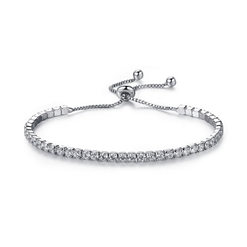 AOPRIE Womens Adjustable Tennis Charm Chain Bracelet Cubic Zirconia Platinum Plated Jewelry (White Silver)