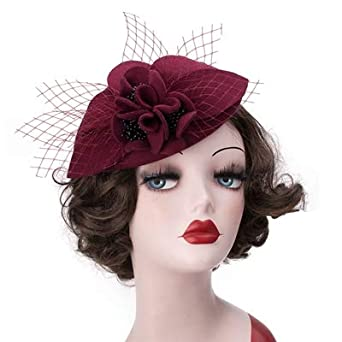 f6ccd29f0c Round Top Pillbox Fascinator Hat Floral Veil Hat Style Race Party Wedding  Fedora