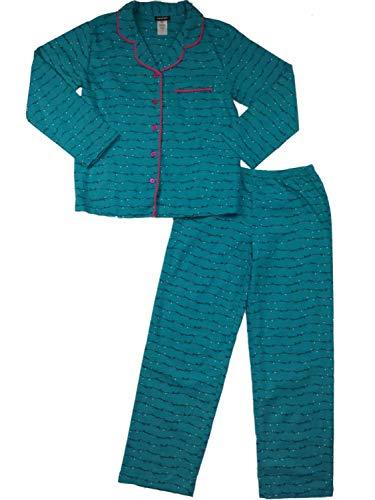 Womens Turquoise & Hot Pink Get Cozy Cursive Print Flannel Pajamas Sleep Set