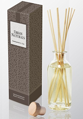 Urban Natural - Urban Naturals Indian Sandalwood & Oud Reed Diffuser Set by Exotic Woody Scent | Oud, Vetiver, Patchouli & Neroli | A Gift Idea for Dad, Mom, Wife, Husband or Girlfriend!