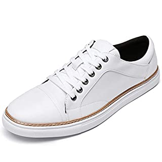 Jivana Men's Fashion Sneakers Casual Shoes Leather Business Sneaker White 10.5