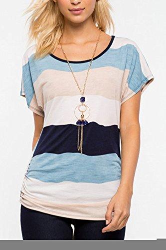 Tapas de camiseta de manga corta de rayas Casual de las mujeres