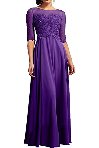 La Braut Abendkleider Marie Glamour Langes mit Spitze Chiffon Lila Ballkleider Bodenlang Brautmutterkleider rr54wqBxd