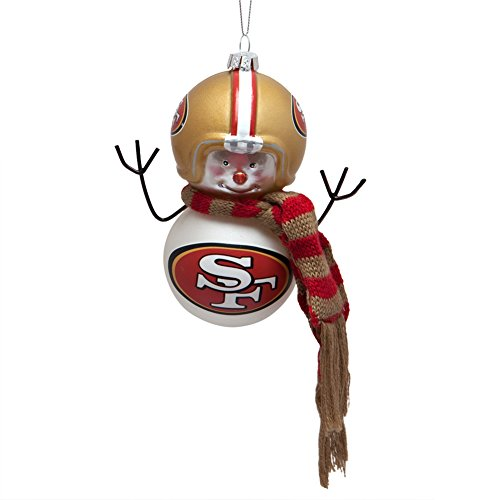 San Francisco 49ers - Blown Glass Snowman Ornament