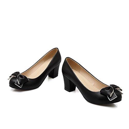 AllhqFashion Damen Rund Zehe Ziehen auf PU Leder Rein Mittler Absatz Pumps Schuhe Schwarz