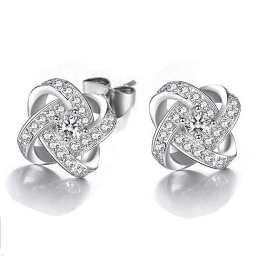 Jewelryamintra Wedding Jewelry Natural White Topaz Gems Silver Stud Hook Earrings