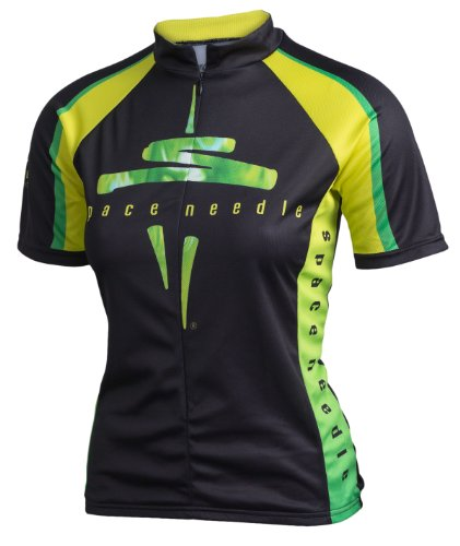 Space Needle Cycling Jersey with Seattle Skyline, Black, Women's