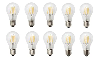JCKing (Pack of 10) AC 110V - 120V 4w E26 Dimmable LED Filament Globe Light Bulb, Golbe Shape Bullet Top, 40W Incandescent Replacement Warm White 2700K 400LM