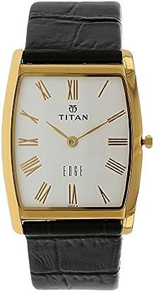 Titan Men's Edge Mineral Quartz Glass Slim Analog Wrist Watch- World's Slimmest Watch with Metal, Leather Strap