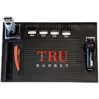 "TRU BARBER Organizer Mat 19"" X 13"" (BLACK) Flexible PVC Station Mat, Salon Barbershop work station pads, Beauty salon…"