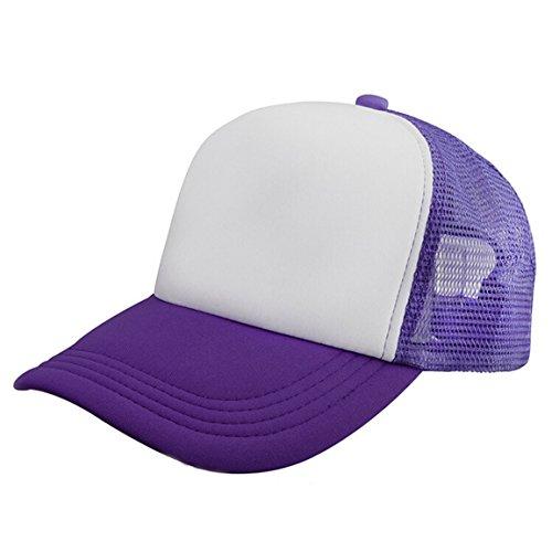 HN Mesh Baseball Cap Hat Blank Curved Visor Hat Adjustable Pure Color (Purple)